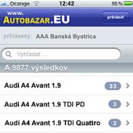 Autobazár.EU - design aplikácie pre iPhone